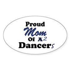 Mom of 2 Dancers Oval Decal