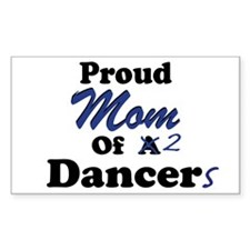 Mom of 2 Dancers Rectangle Decal