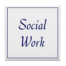 Social Work (blue) Tile Coaster