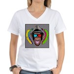 CHECKERBOARD CHIMPSTER Women's V-Neck T-Shirt