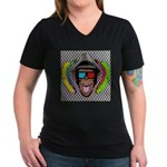CHECKERBOARD CHIMPSTER Women's V-Neck Dark T-Shirt