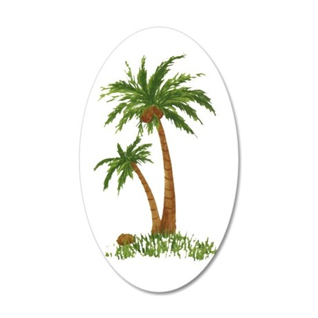 Twin palms 20x12 Oval Wall Decal