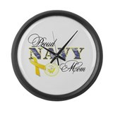 Proud Navy Mom Large Wall Clock
