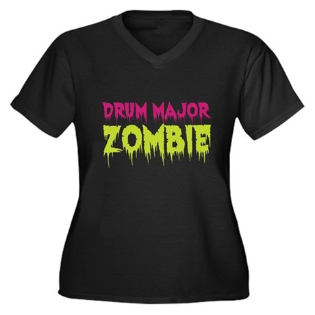 Drum Major Zombie Women's Plus Size V-Neck Dark T-