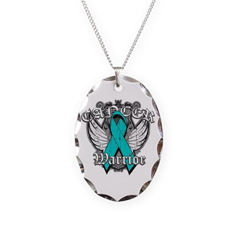 Ovarian Cancer Warrior Necklace Oval Charm