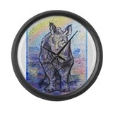 Rhino, wildlife art, Large Wall Clock