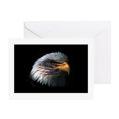 American Flag Eagle Greeting Cards (Pk of 20)