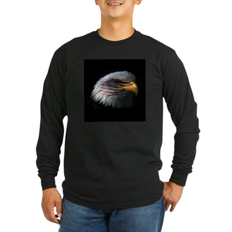 American Flag Eagle Long Sleeve Dark T-Shirt
