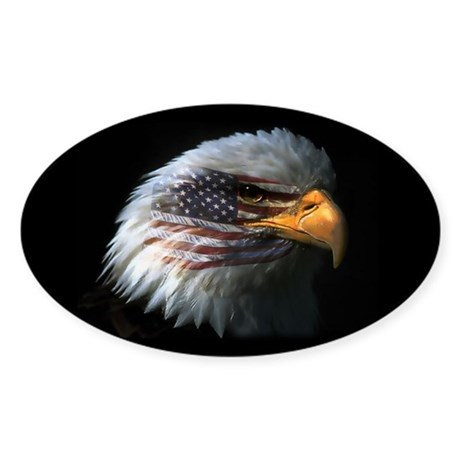 American Flag Eagle Oval Sticker
