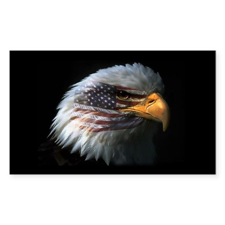 American Flag Eagle Rectangle Sticker
