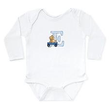 Teddy Alphabet E Blue Long Sleeve Infant Bodysuit
