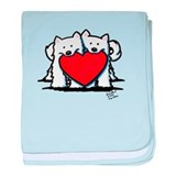 Japanese Spitz Heart Duo baby blanket