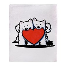 Japanese Spitz Heart Duo Throw Blanket