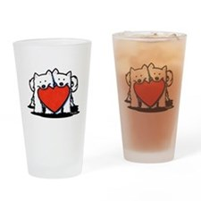 Japanese Spitz Heart Duo Drinking Glass