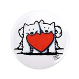 "Japanese Spitz Heart Duo 3.5"" Button (100 pack)"