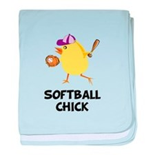 Softball Chick baby blanket