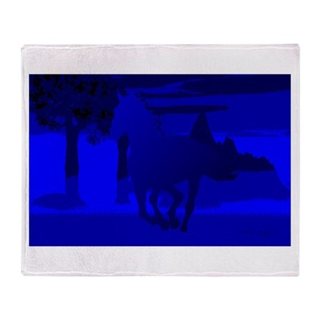 Stallion of Blue Throw Blanket