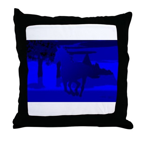 Stallion of Blue Throw Pillow