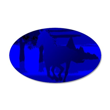 Stallion of Blue 38.5 x 24.5 Oval Wall Peel