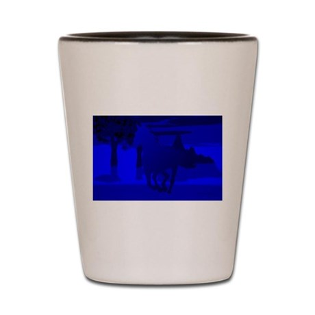 Stallion of Blue Shot Glass
