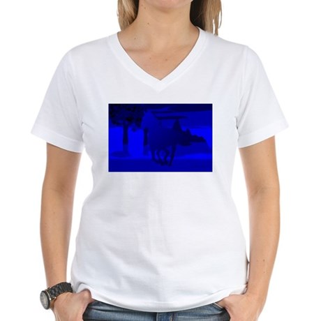 Stallion of Blue Women's V-Neck T-Shirt