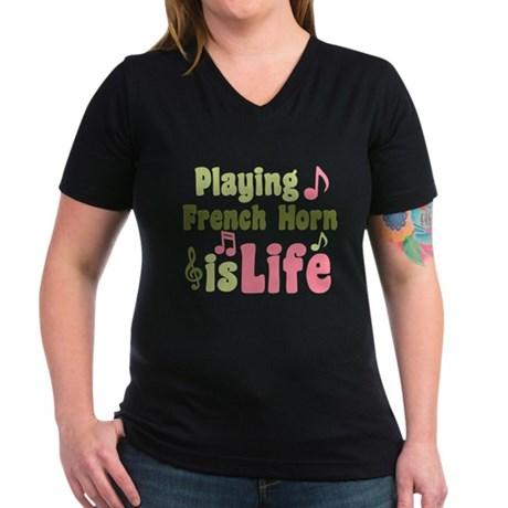 French Horn is Life Women's V-Neck Dark T-Shirt