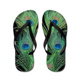 Green and Black Peacock Flip Flops