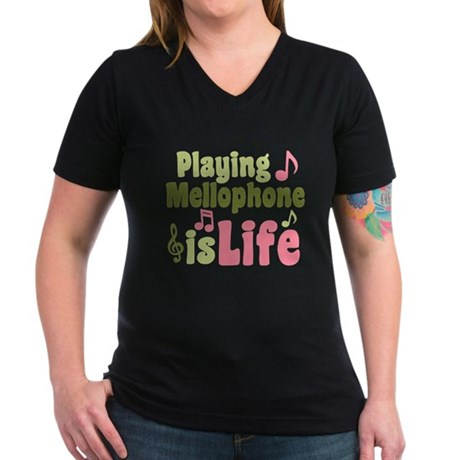 Mellophone is Life Women's V-Neck Dark T-Shirt