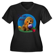 Puppy Play Women's Plus Size V-Neck Dark T-Shirt