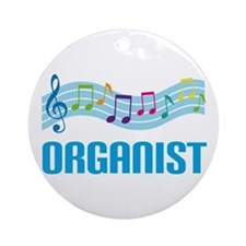 Music Staff Organist Ornament (Round)