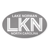 Lake Norman Oval Sticker (Reverse White Text)