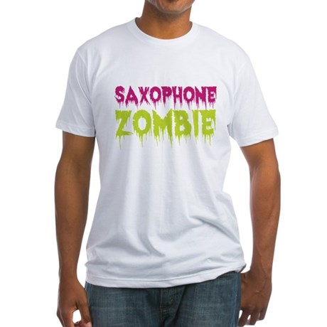 Saxophone Zombie Fitted T-Shirt