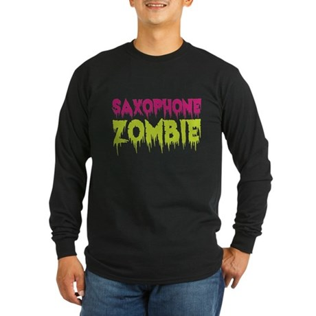 Saxophone Zombie Long Sleeve Dark T-Shirt