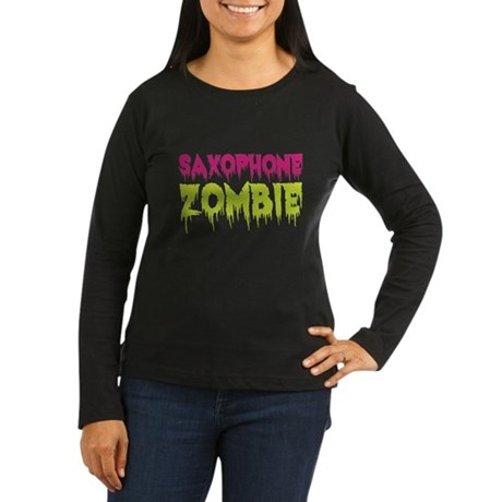 Saxophone Zombie Women's Long Sleeve Dark T-Shirt