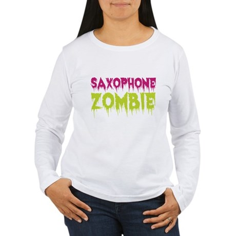 Saxophone Zombie Women's Long Sleeve T-Shirt