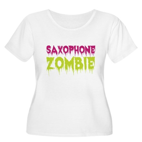 Saxophone Zombie Women's Plus Size Scoop Neck T-Sh