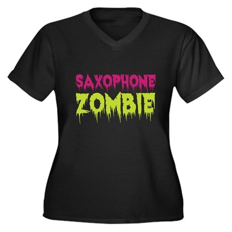 Saxophone Zombie Women's Plus Size V-Neck Dark T-S