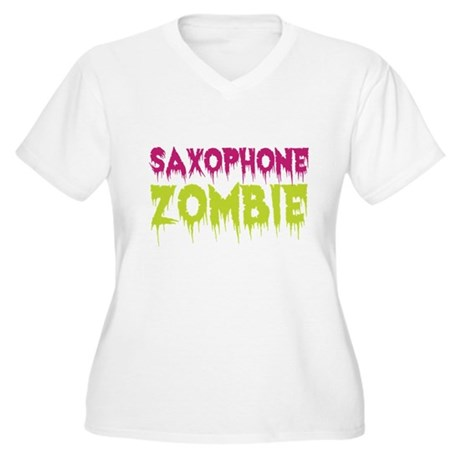 Saxophone Zombie Women's Plus Size V-Neck T-Shirt