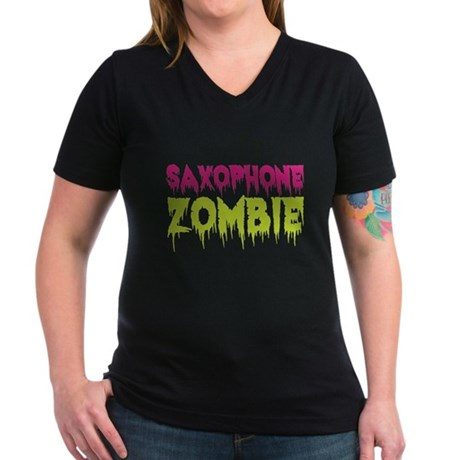 Saxophone Zombie Women's V-Neck Dark T-Shirt