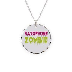 Saxophone Zombie Necklace Circle Charm