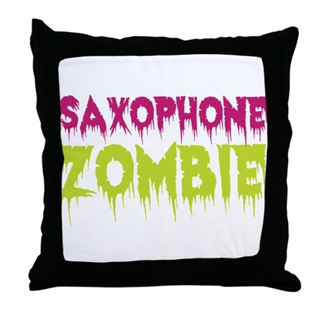 Saxophone Zombie Throw Pillow