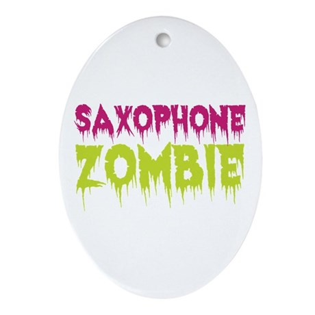 Saxophone Zombie Ornament (Oval)
