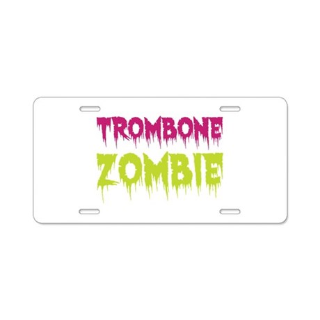 Trombone Zombie Aluminum License Plate