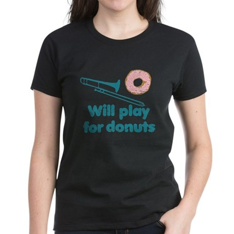 Will Play Trombone for Donuts Women's Dark T-Shirt