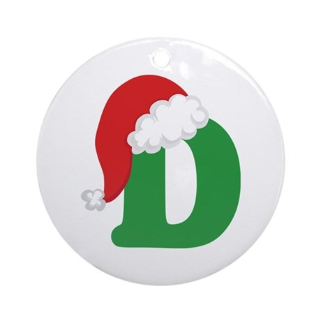 Christmas Letter D Alphabet Ornament Round By