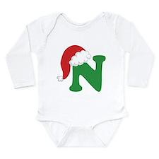 Christmas Letter N Alphabet Long Sleeve Infant Bod