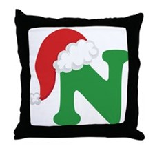 Christmas Letter N Alphabet Throw Pillow