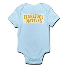 Infant Creeper with Barefoot Native logo.