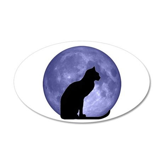 Cat & Moon 22x14 Oval Wall Peel