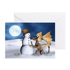Dragon With Snowman Christmas Cards (Pk Of 10)
